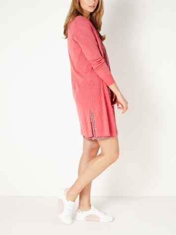 Lange, offene Strickjacke - Tea Rose /