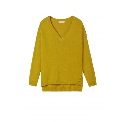 Pullover mit Rippstrickeinsatz - Spicy Yellow /