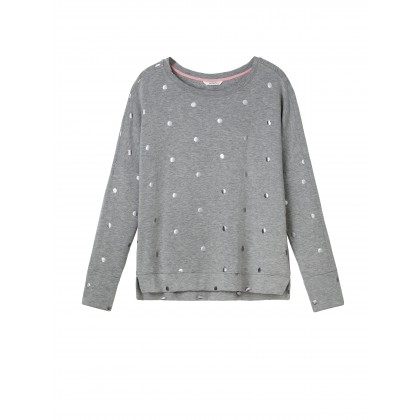 Sweater mit Foil-Punkteprint - Mid Grey /