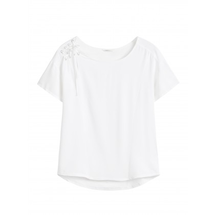 T-Shirt mit Lace-Up - Pure White /