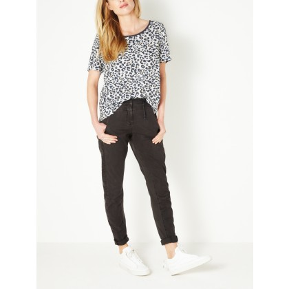 T-Shirt mit Leopardenprint - Lily White /