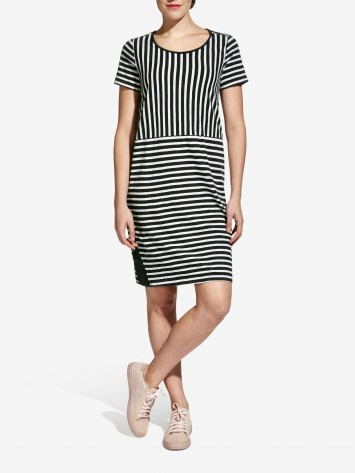 Striped dress - Almost black /
