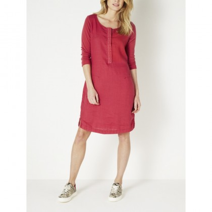 Leger fallendes Leinenkleid - Flower Red /