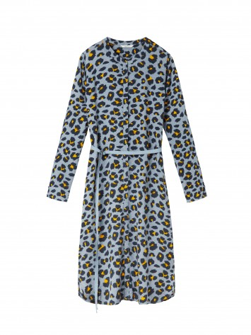 Kleid mit Leopardenprint - Steel /