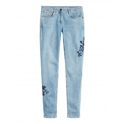 Skinny mit Stickerei - Light Blue Denim /
