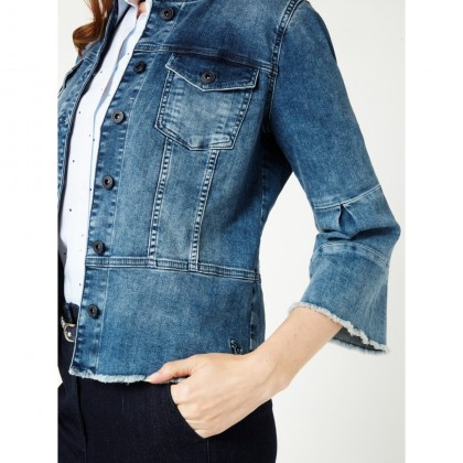 Denim Jacke mit Trompetenärmeln - Medium Blue Denim /