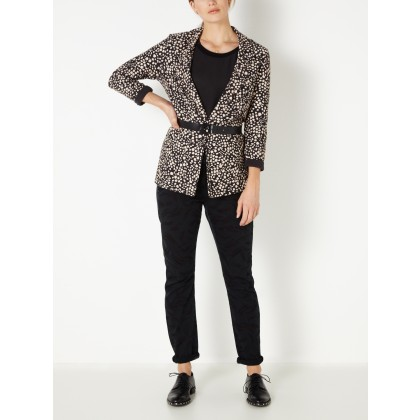 Blazer aus Frotteestoff mit All-over-Print - Almost Black /