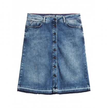 Denim-Rock mit Knopfverschluss - Medium Blue Denim /