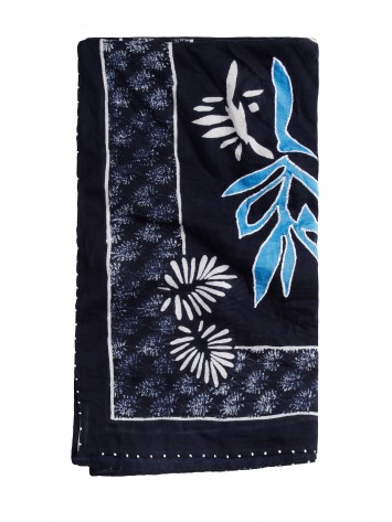 Schal mit Blumenprint - True Blue /