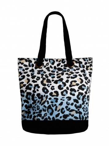 Shopper mit Leopardenprint - Blue Fog /