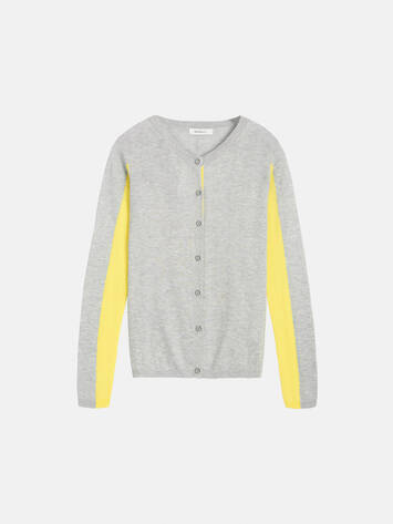 Colour Block Strickjacke - Pearl Grey /