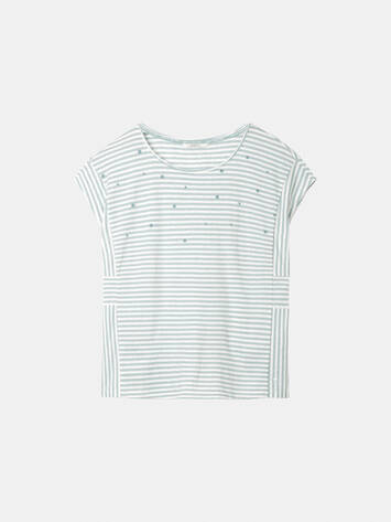 Striped T-shirt with dotted print - Anise Green /