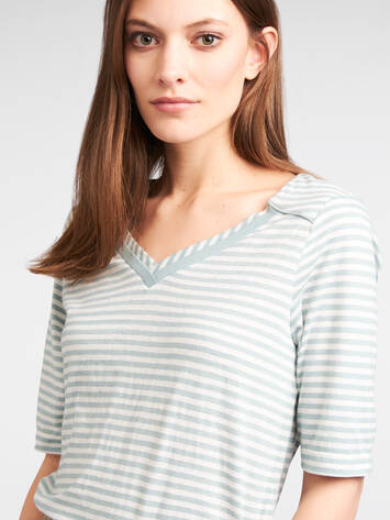 Striped T-shirt - Anise Green /