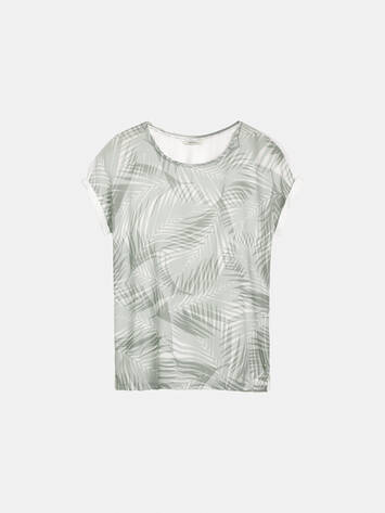 T-Shirt mit Palmenprint - Pearl Grey /