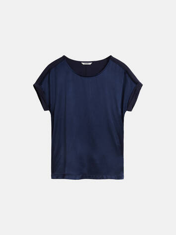 Smoothly woven top with openwork detail - Navy /