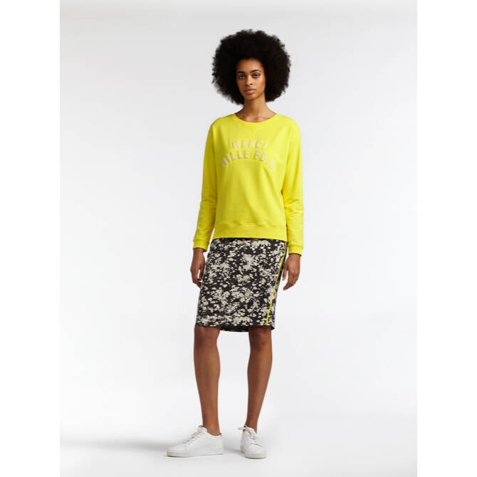 Sweater mit Flock Print - Blazing Yellow /