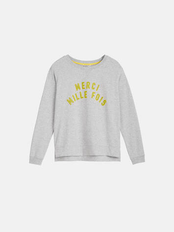 Sweater mit Flock Print - Pearl Grey /