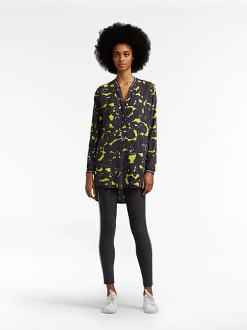 Long blouse with graphic print - Iron /
