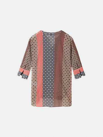 Patchwork-Bluse - Washed Rose /