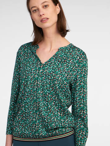 Top mit All-over-Print und Lurex-Saum /