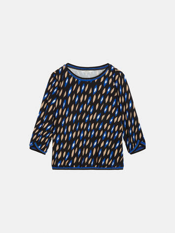 Top mit All-over-Print und Lurex-Rippung /