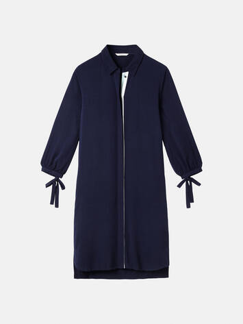 Dress with tie bow closure on the sleeves - Maritime Blue /