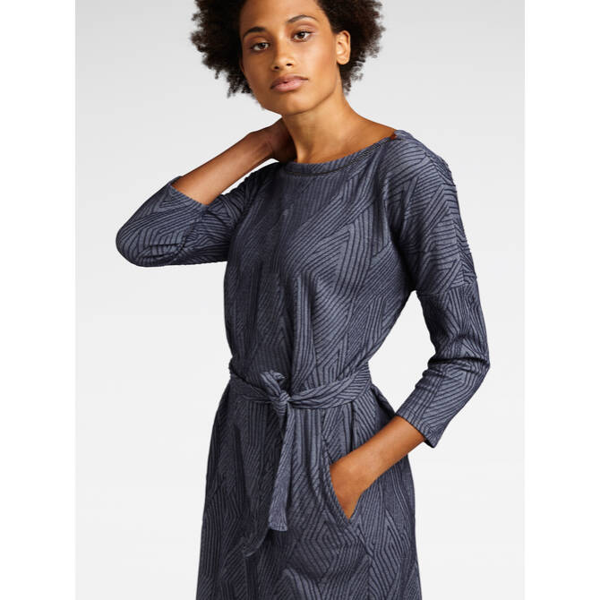 Denim Kleid mit Jacquard Dessin - Medium blue denim /