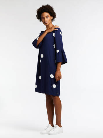 Polka dot dress with trumpet sleeves - Maritime Blue /
