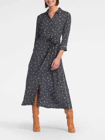 Midi dress with leaf print /