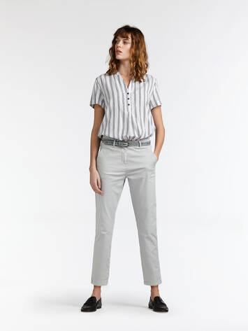 Chino-Hose mit washed Effekt - Pearl Grey /