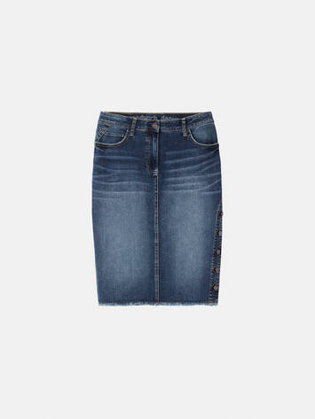 High Waist Jeansrock mit Knopfverschluss - Medium blue denim /