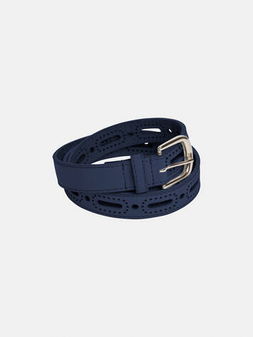 Leather belt with open texture - Navy /